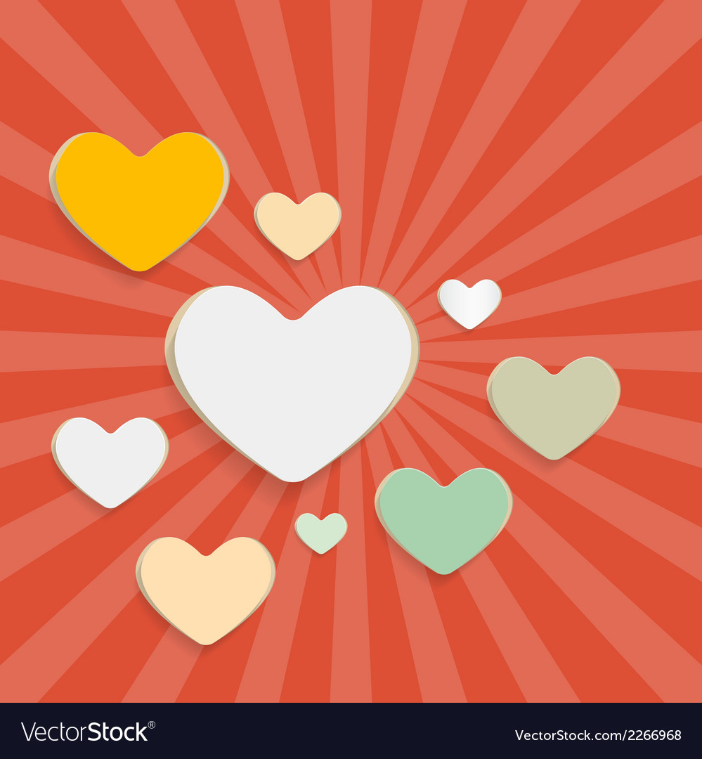 Paper Hearts on Red Retro Background vector image