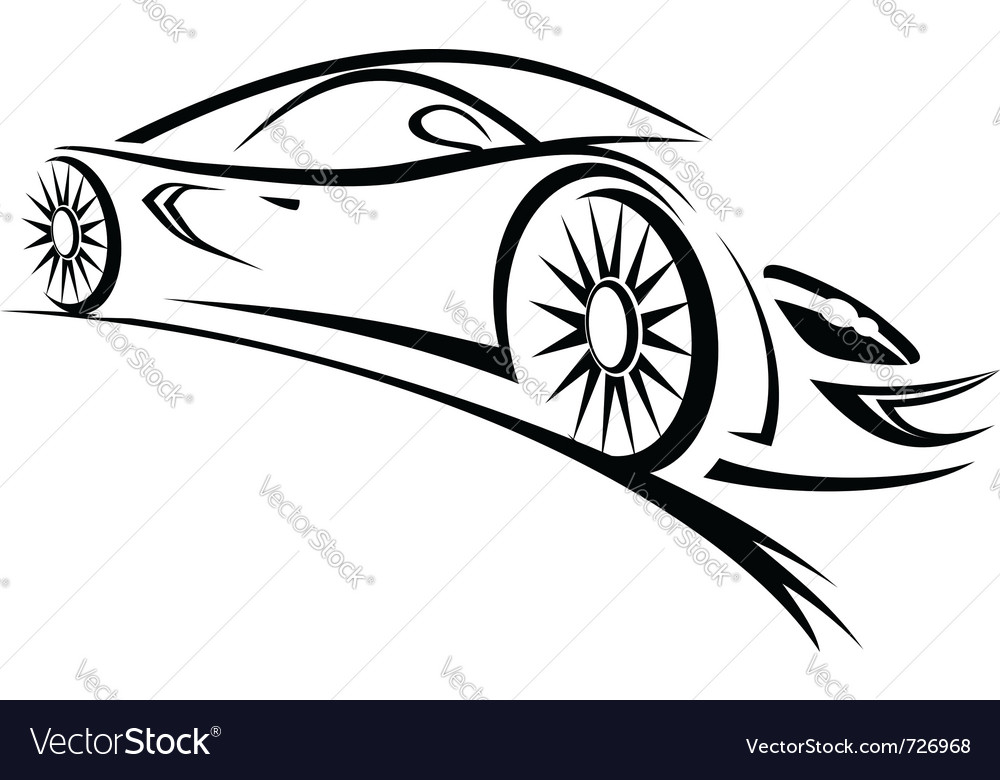 Line Drawing Car : Racing car sketch lines royalty free vector image