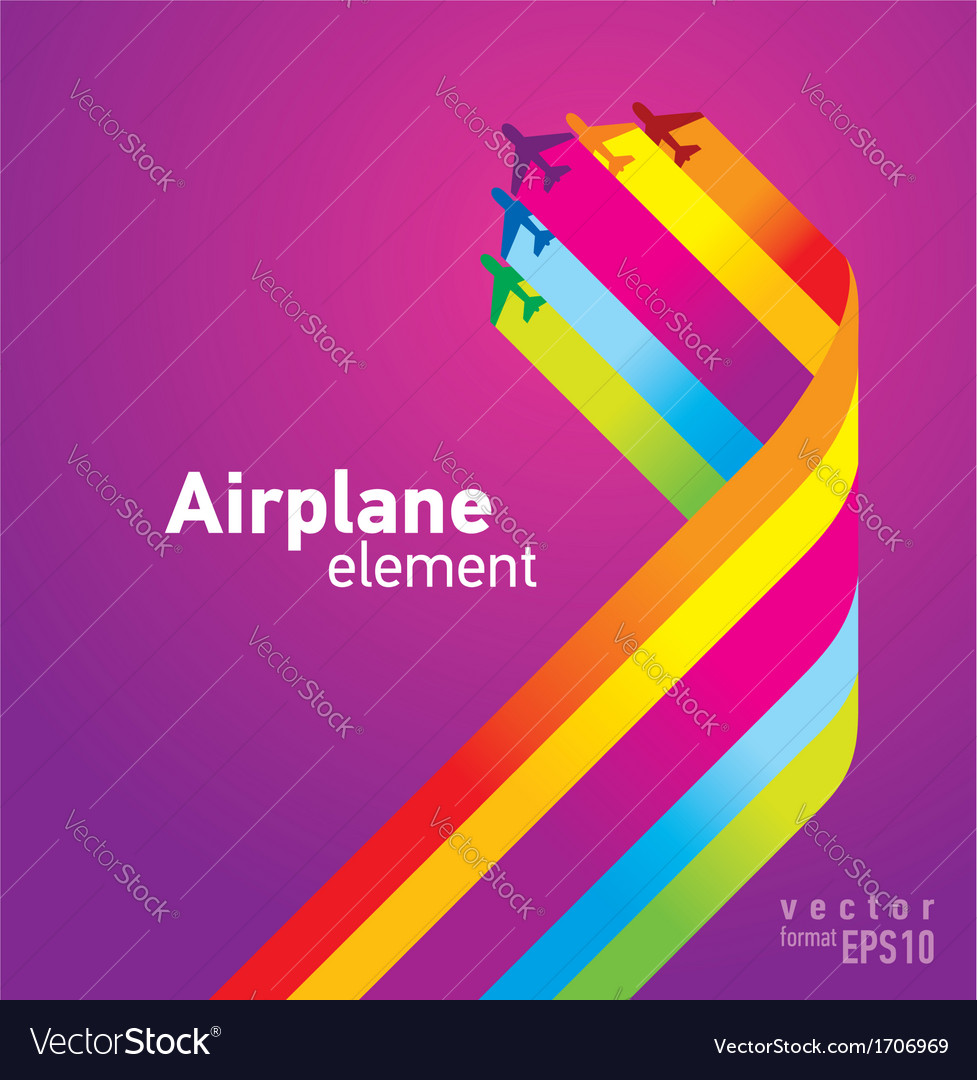 Airplane colored background takeoff Vector Image