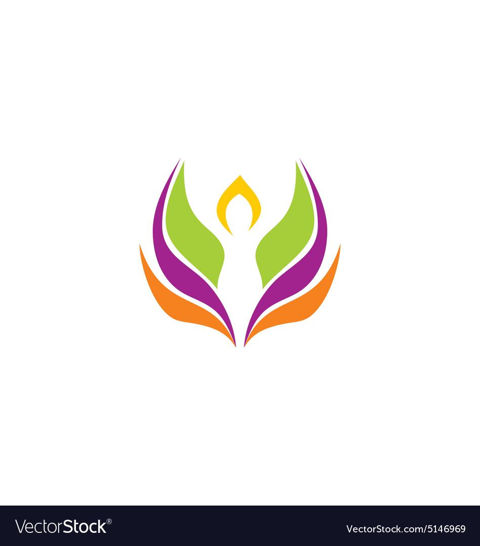 Beauty yoga abstract lotus flower logo vector image