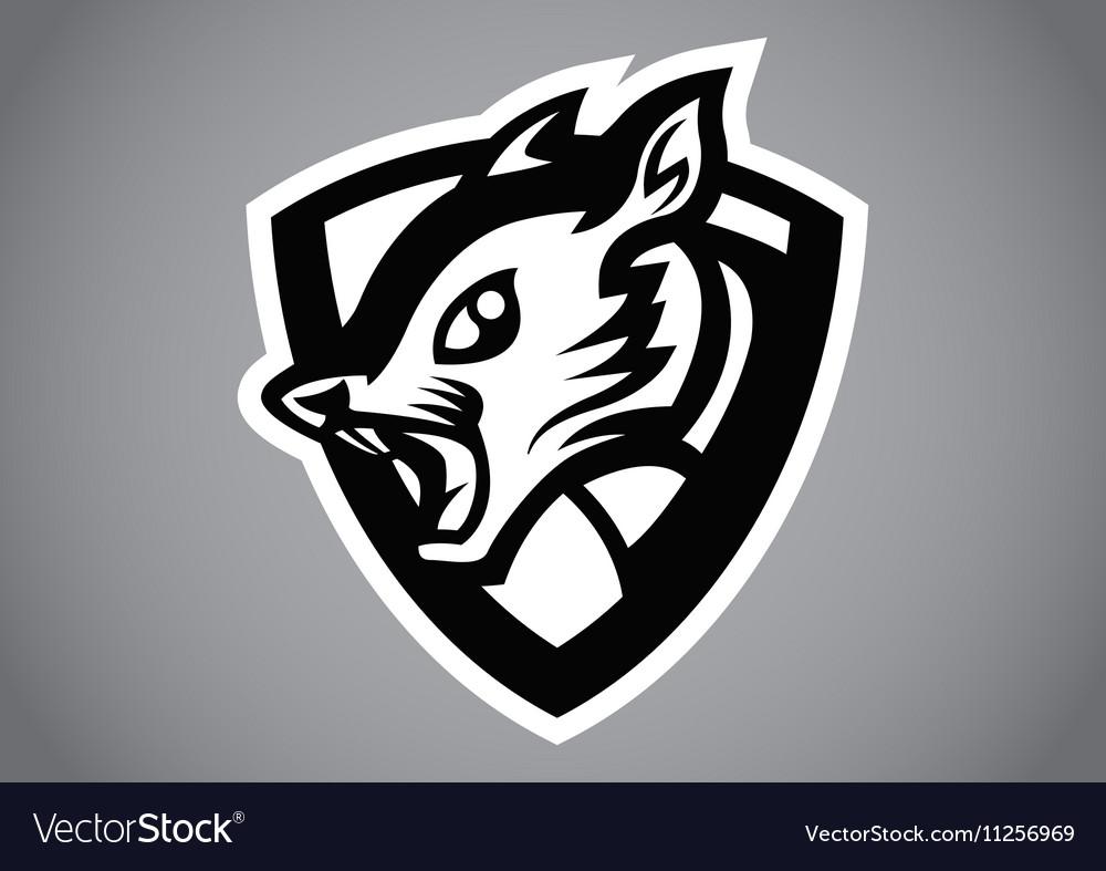 Squirrel black shield logo vector image