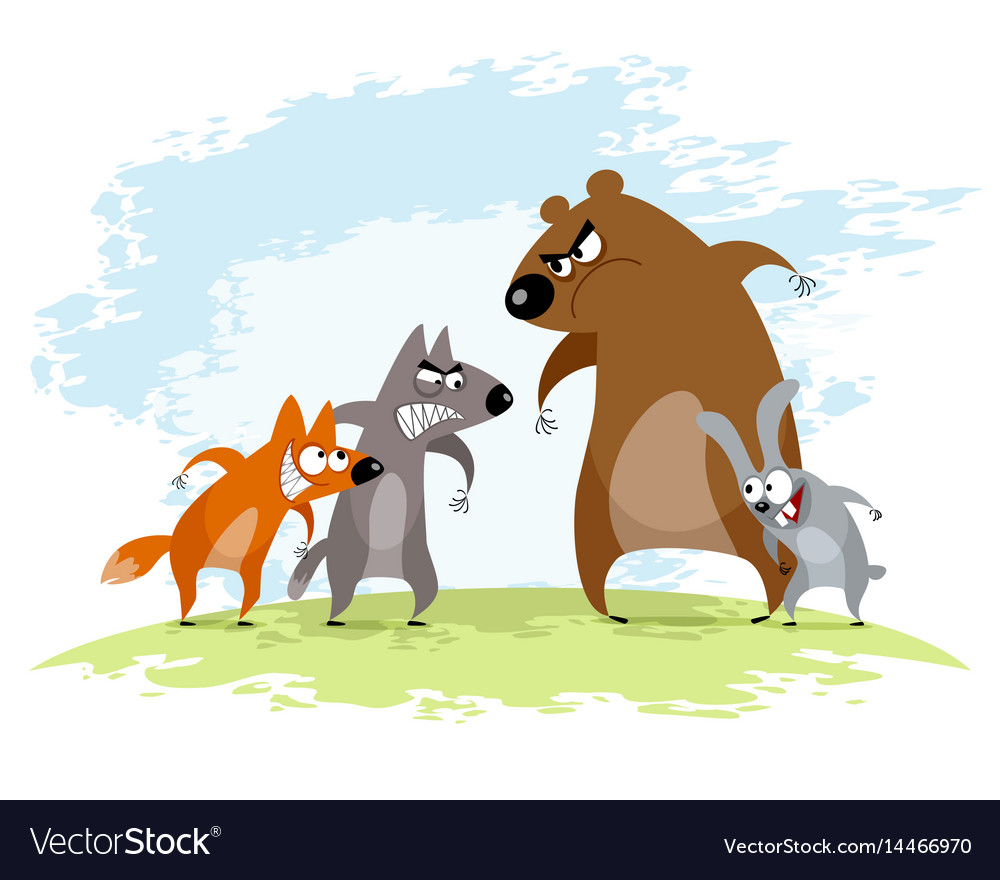 Four animals conflict vector image