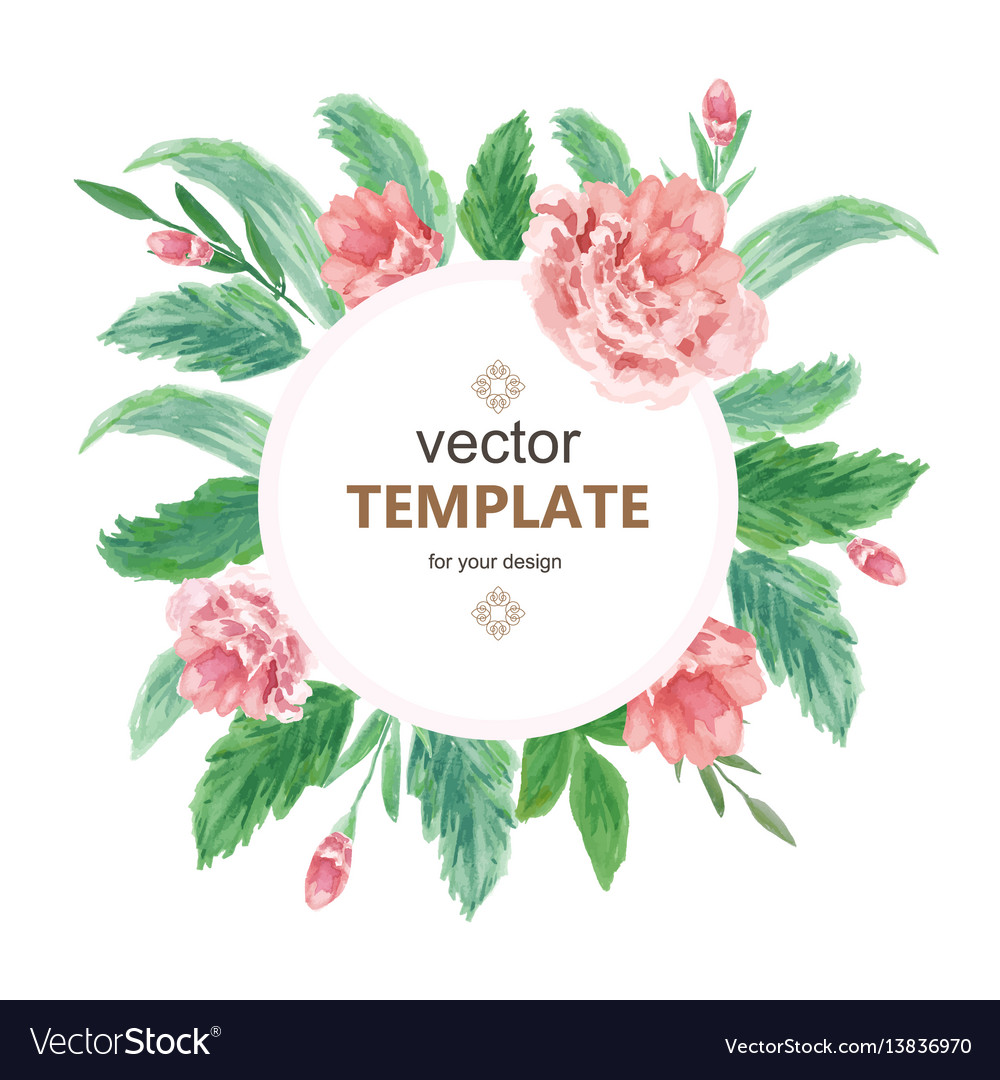 Wedding Invitation Design Images. Watercolor wedding invitation design with flower vector image Vector Image