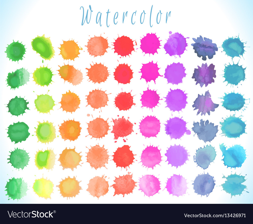 Colorful watercolor splashes set vector image