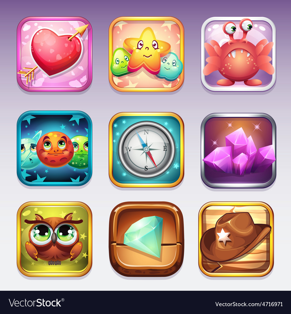 Set icons for app store and Google Play to vector image