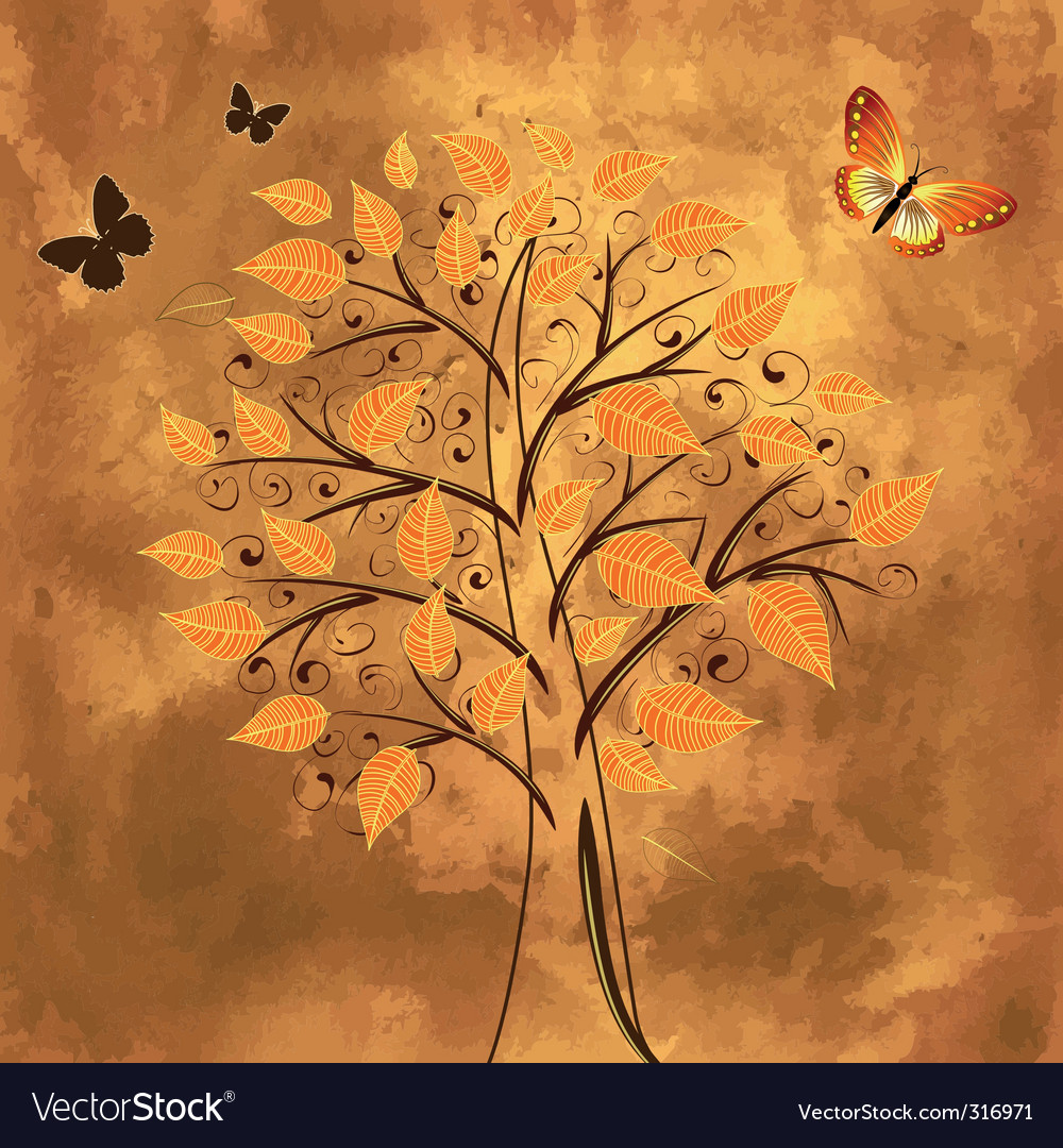 Tree in the background grunge vector image
