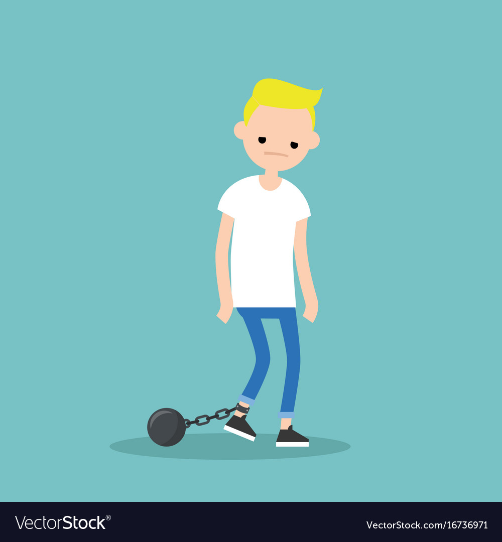 Young exhausted blonde boy wearing shackles sad vector image