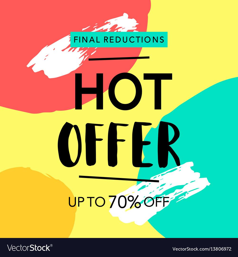 Hot offer sale banner vector image