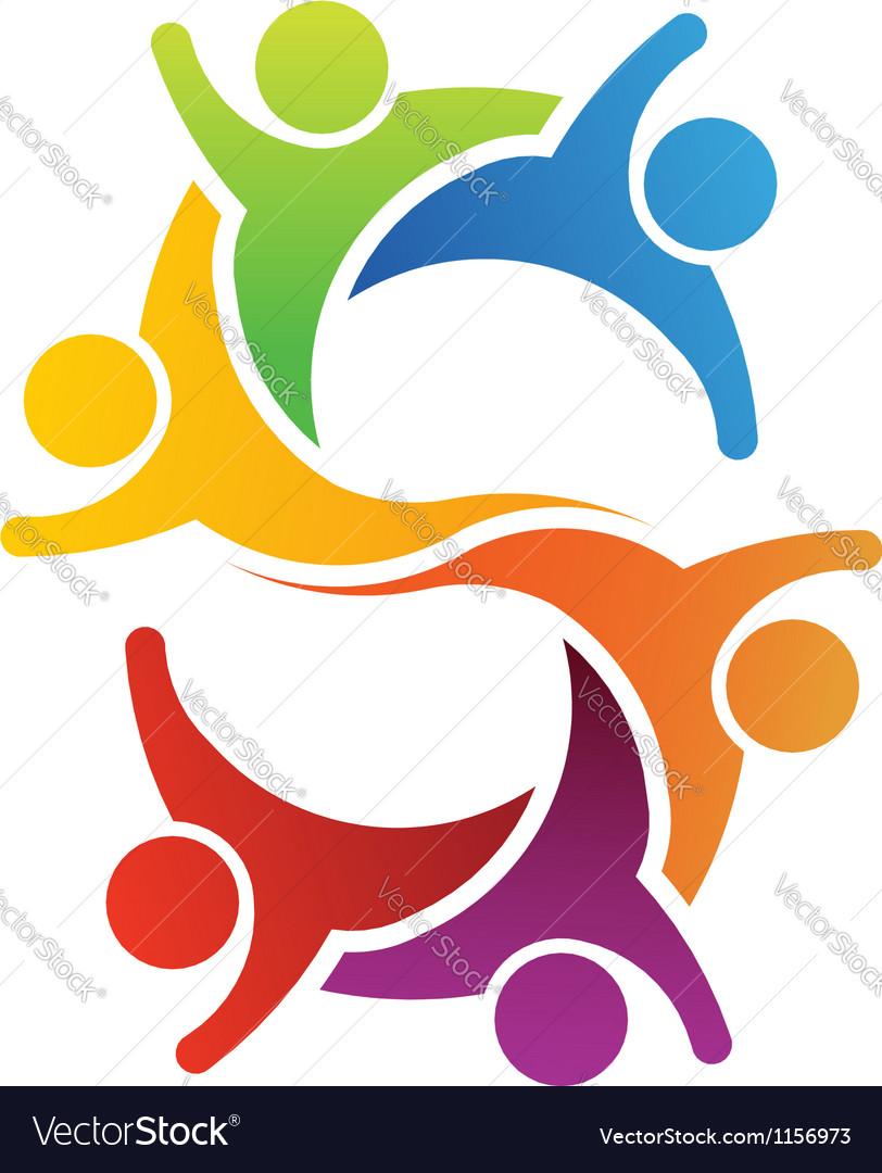 Teamwork letter S vector image