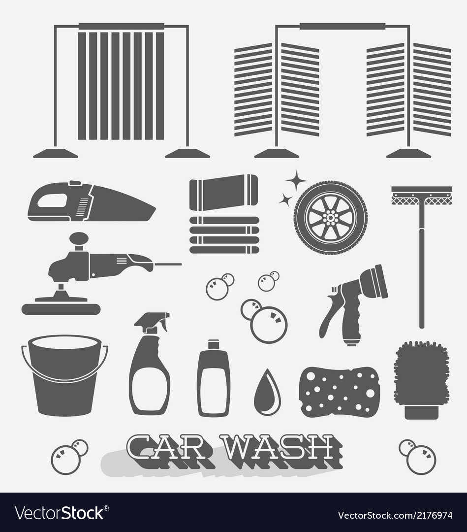 Car Wash Icons and Silhouettes vector image
