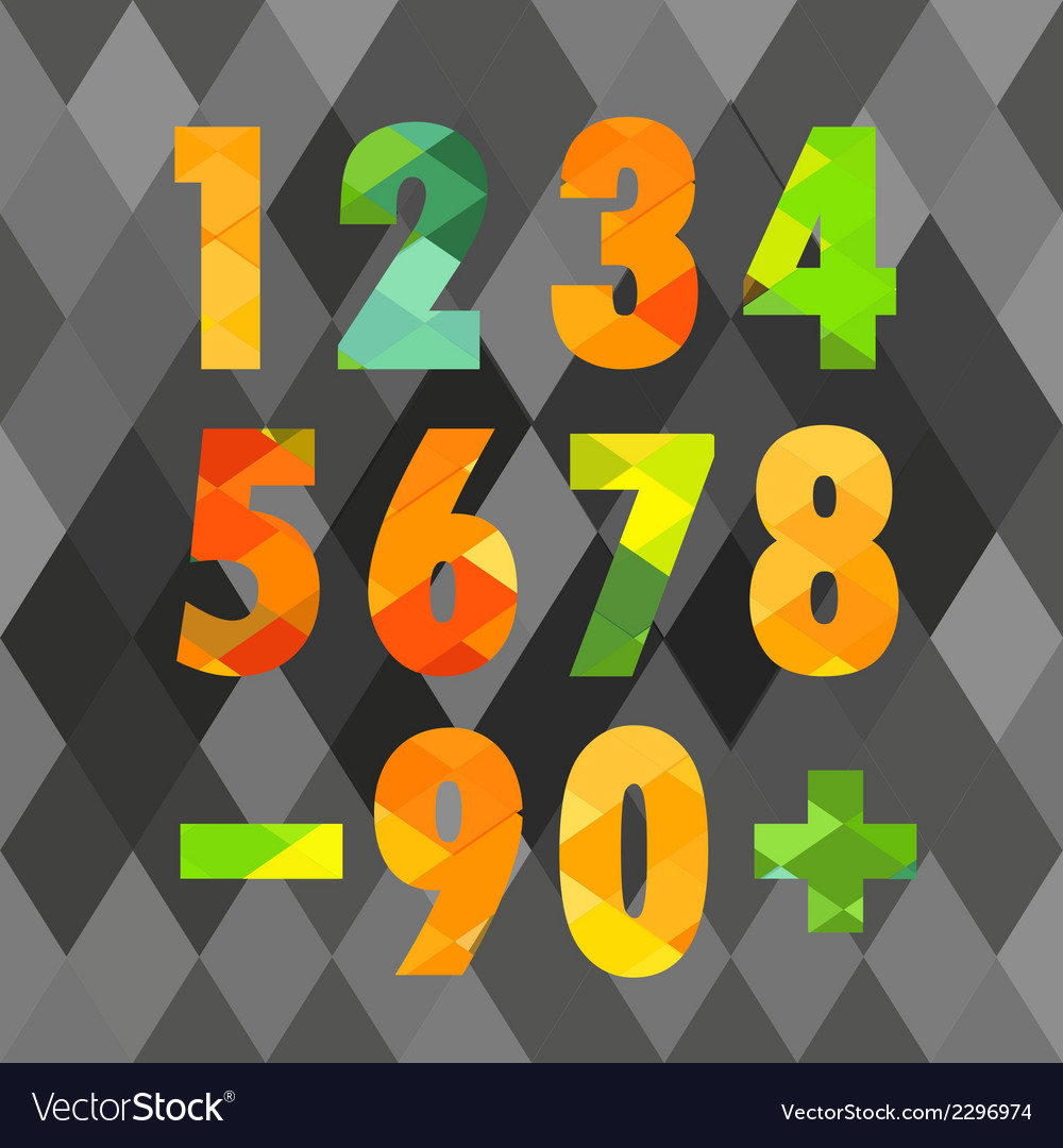 Set of numbers with geometric pattern vector image