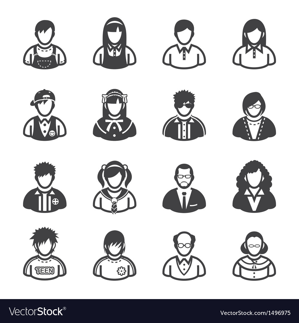 Family Icons and People Icons Vector Image