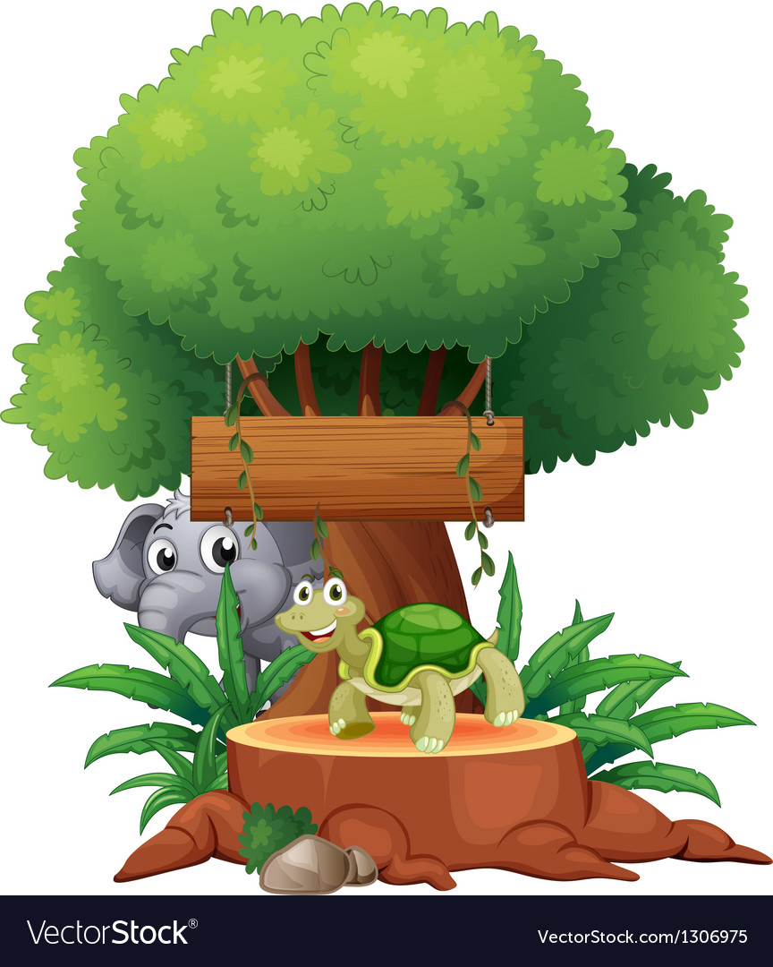 A turtle and an elephant under the big tree with a vector image