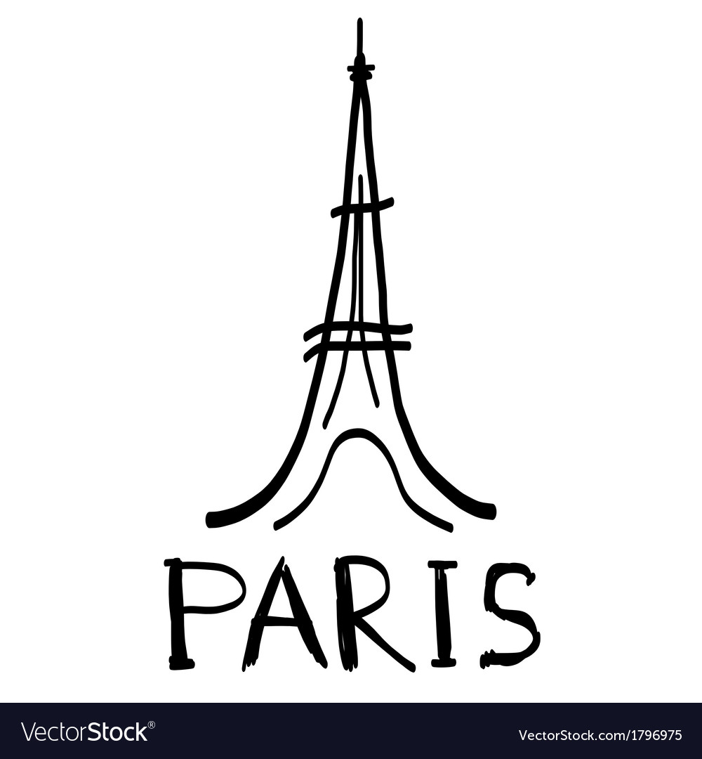 Eiffel Tower Icon In Sketch Style Royalty Free Vector Image