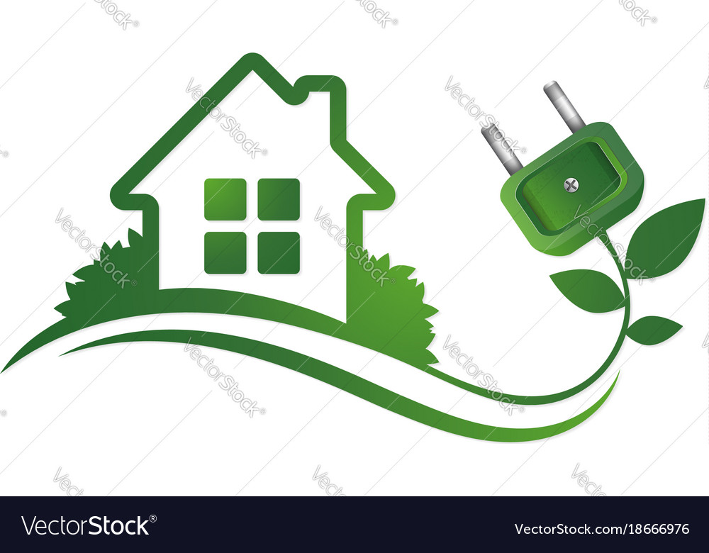 Eco house and electric plug Royalty Free Vector Image
