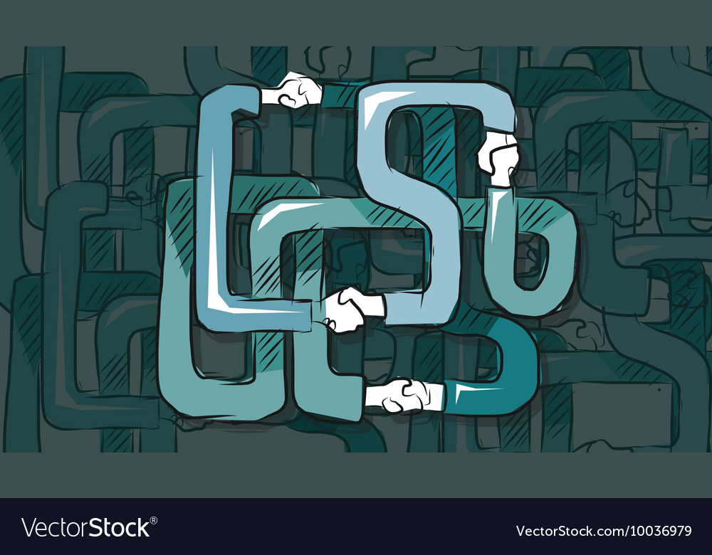 Hand shake holding complicated partnership in vector image