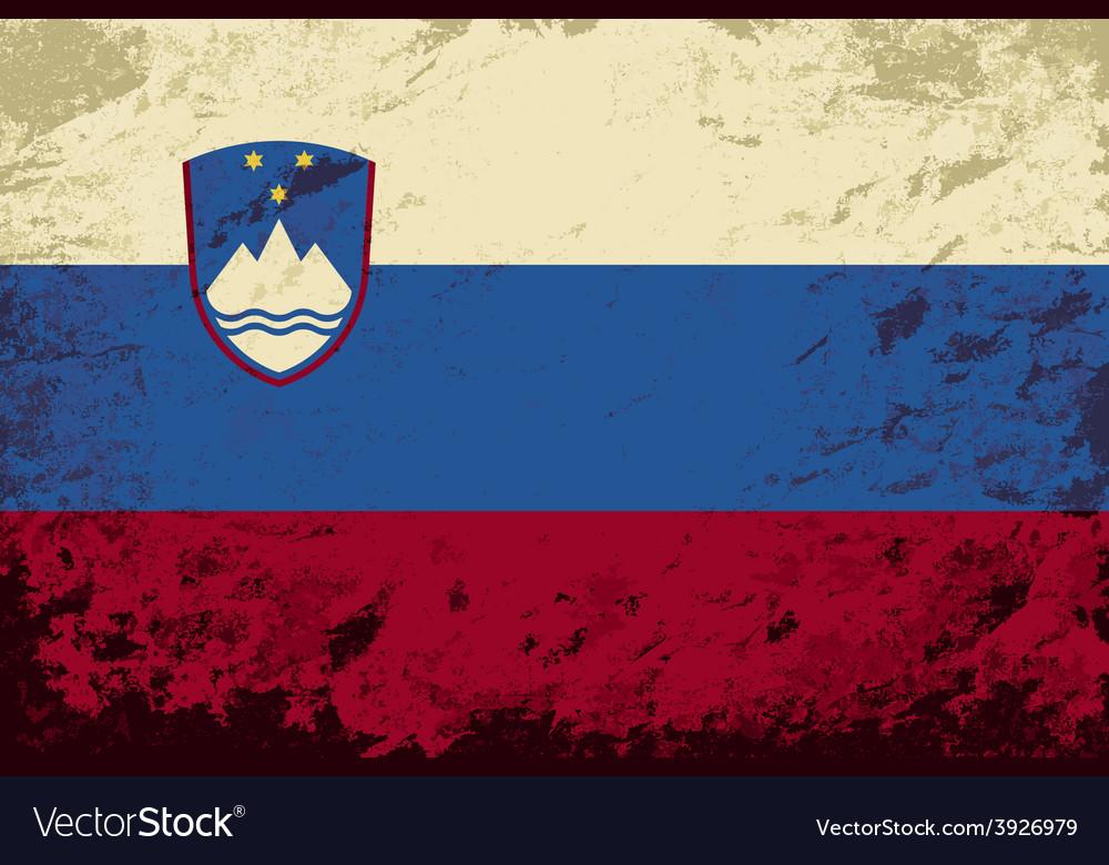Slovenian flag Grunge background vector image