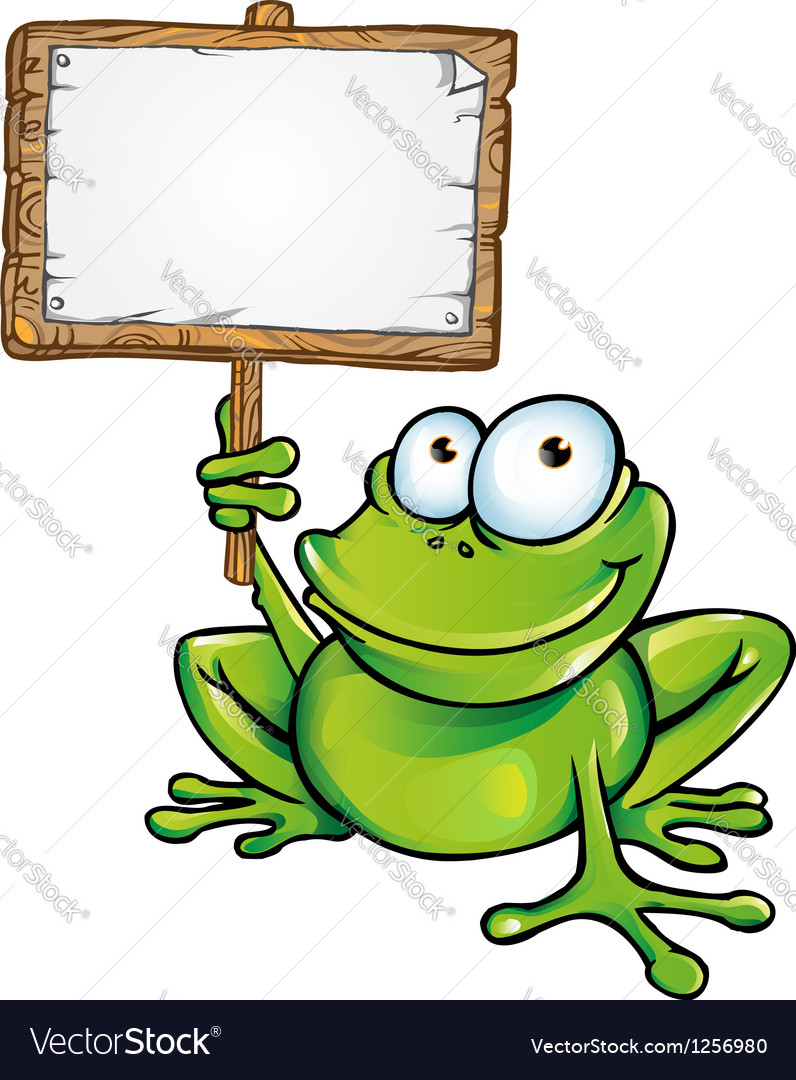 Frog prince with signboard vector image