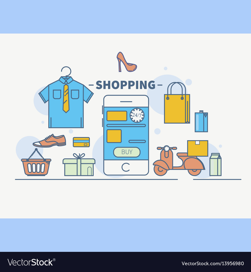 Internet and mobile marketing vector image