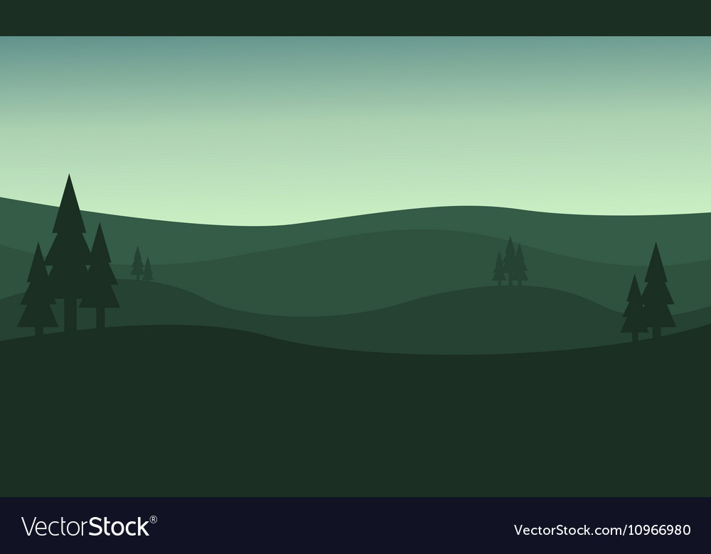 Silhouette of hill green backgrounds vector image