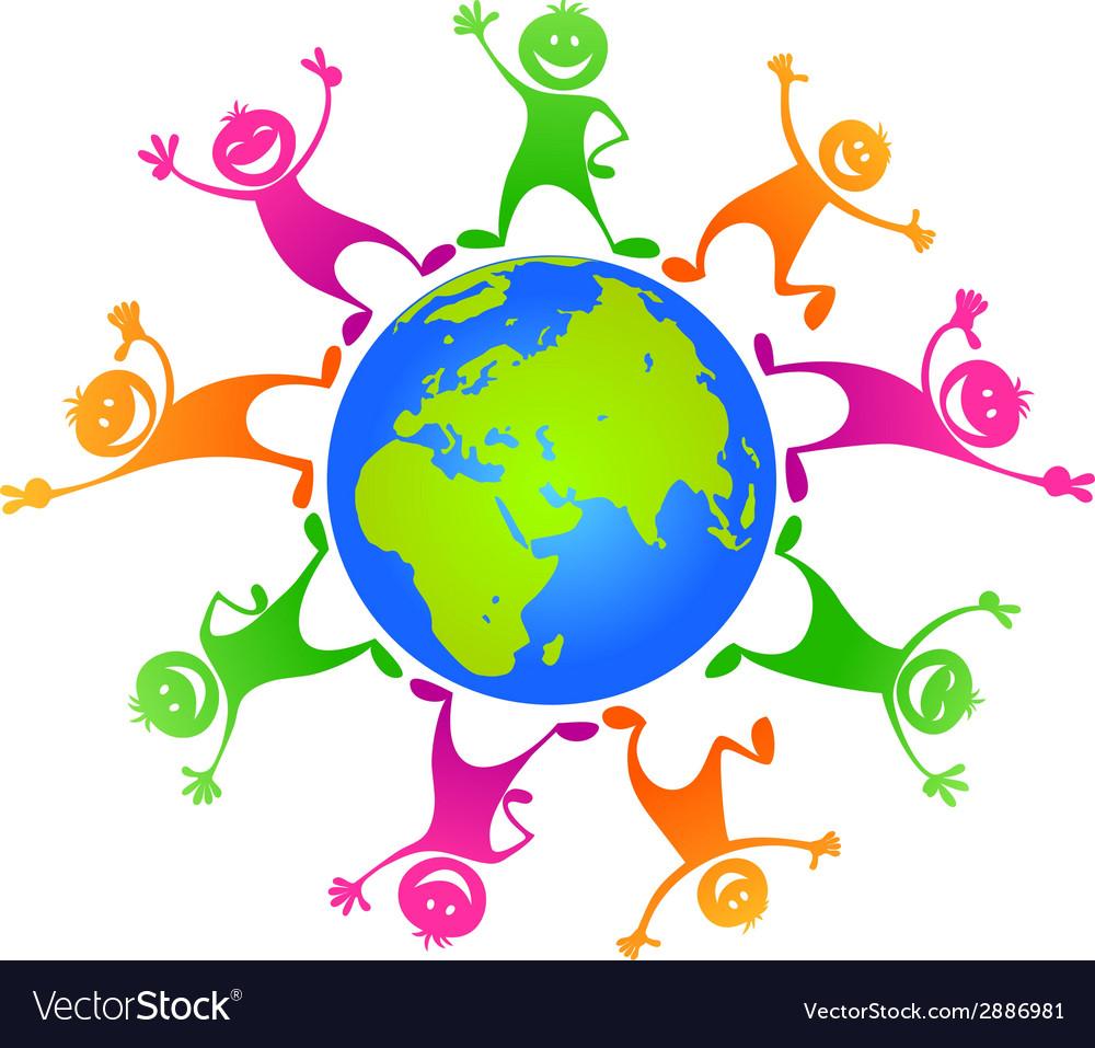 Children around planet vector image