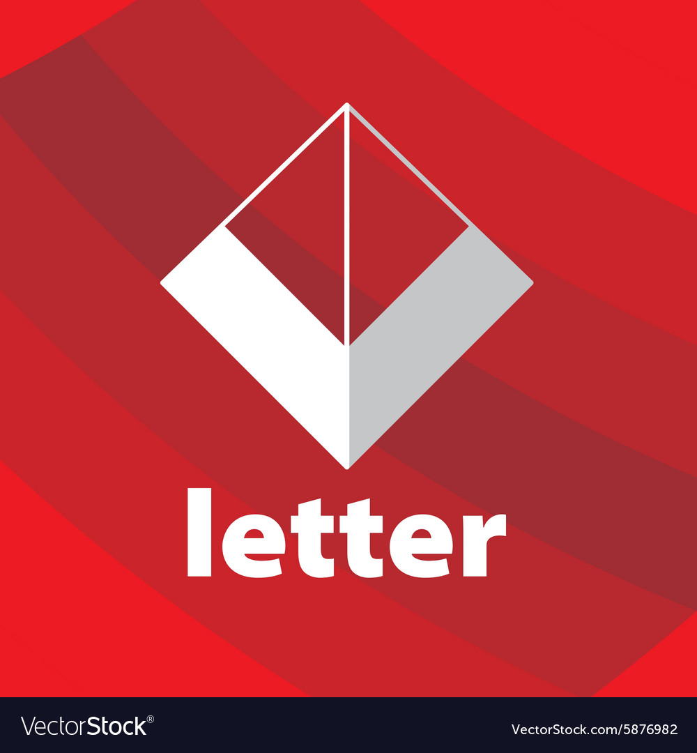 Abstract logo letter V on a red background vector image