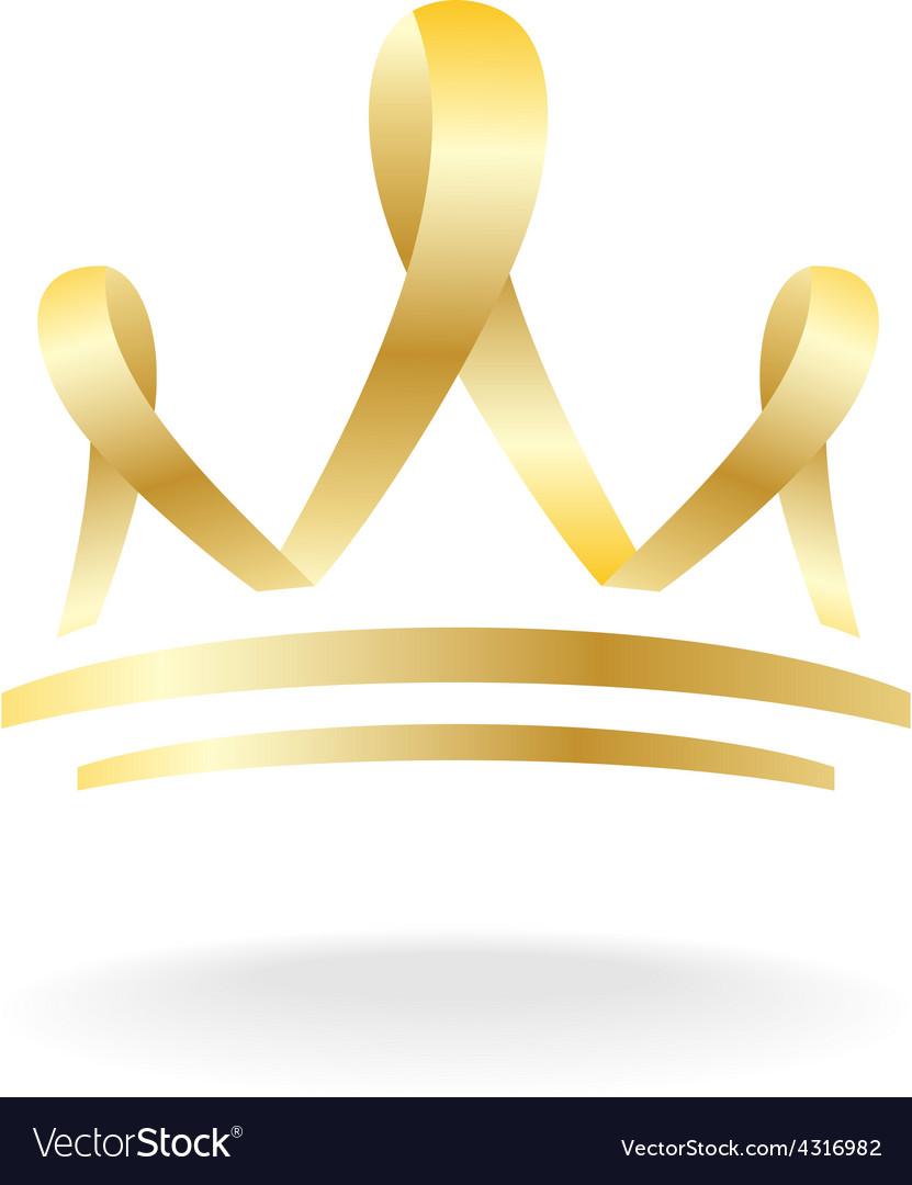 Golden ribbon crown sign vector image
