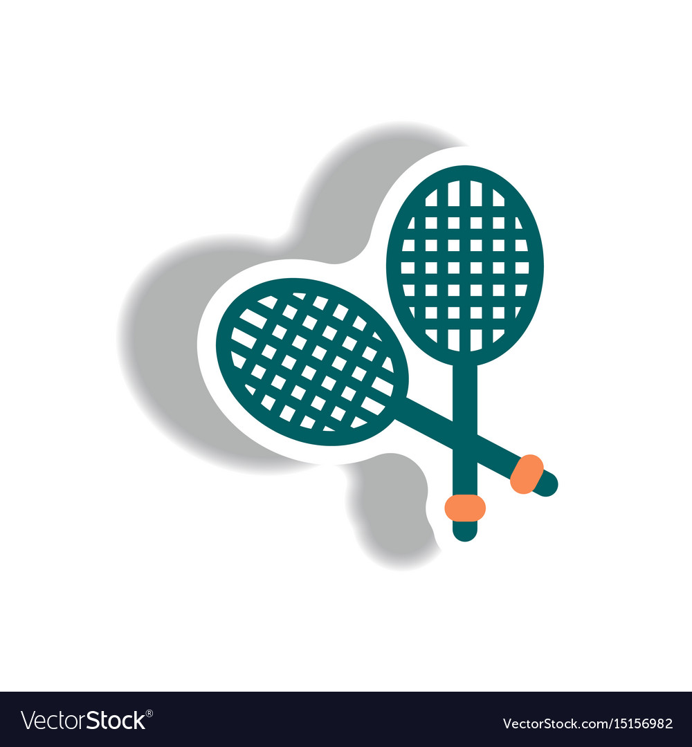 Stylish icon in paper sticker style tennis rocket