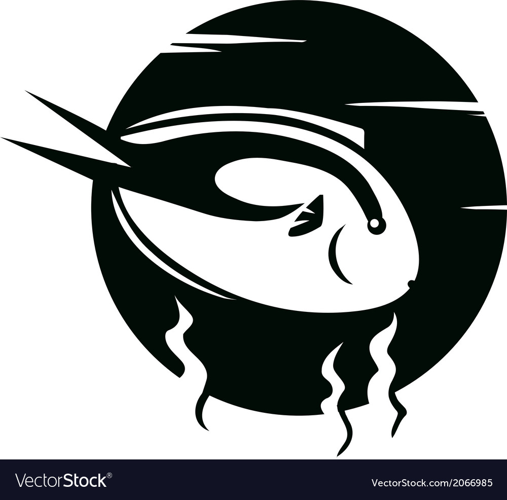 Fish on black background vector image