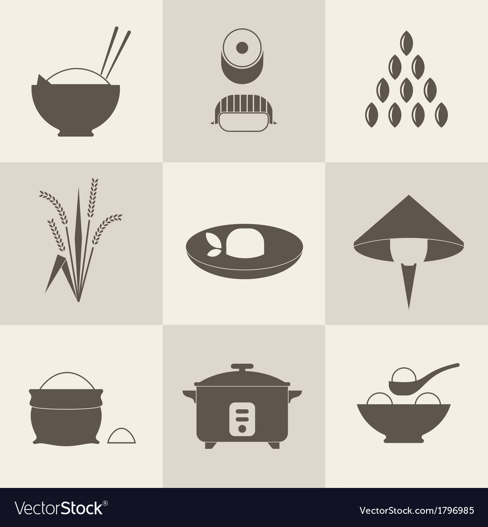 Rice icons vector image