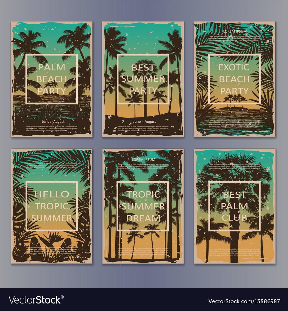 Tropic vintage posters set vector image