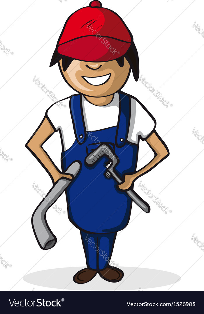 Plumber man career cartoon character vector image