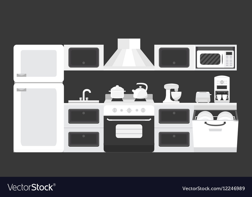 Black white color kitchen interior vector image