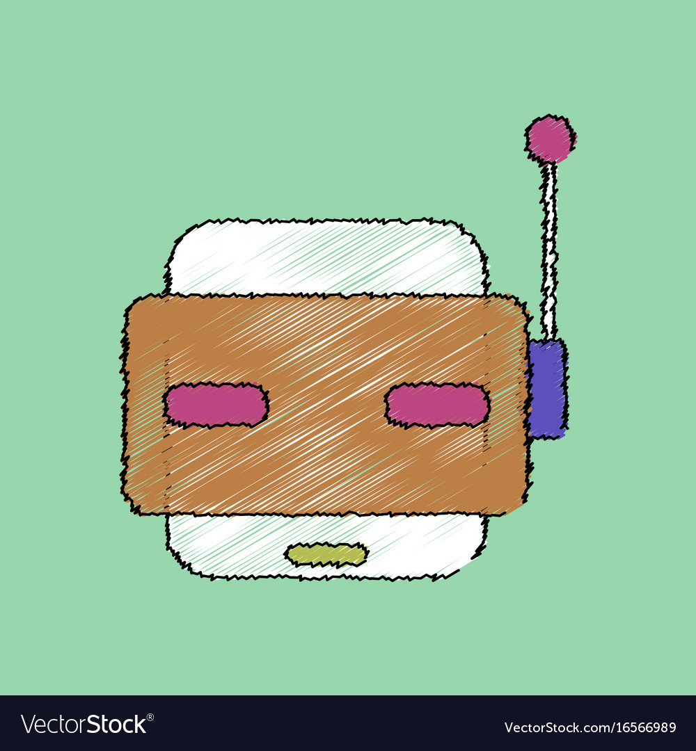 Flat shading style icon toy robot face vector image