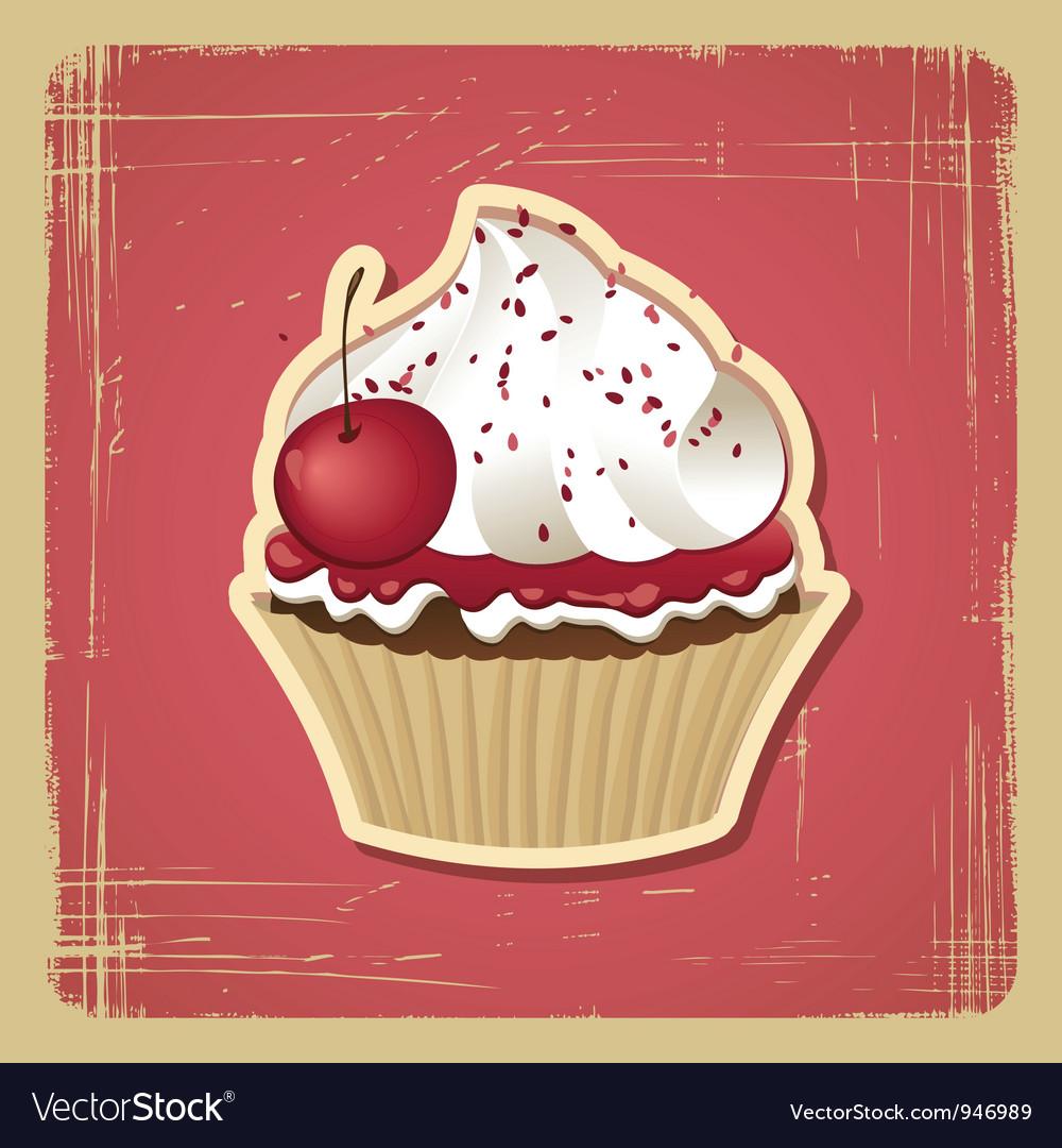 Vintage Cupcake card vector image