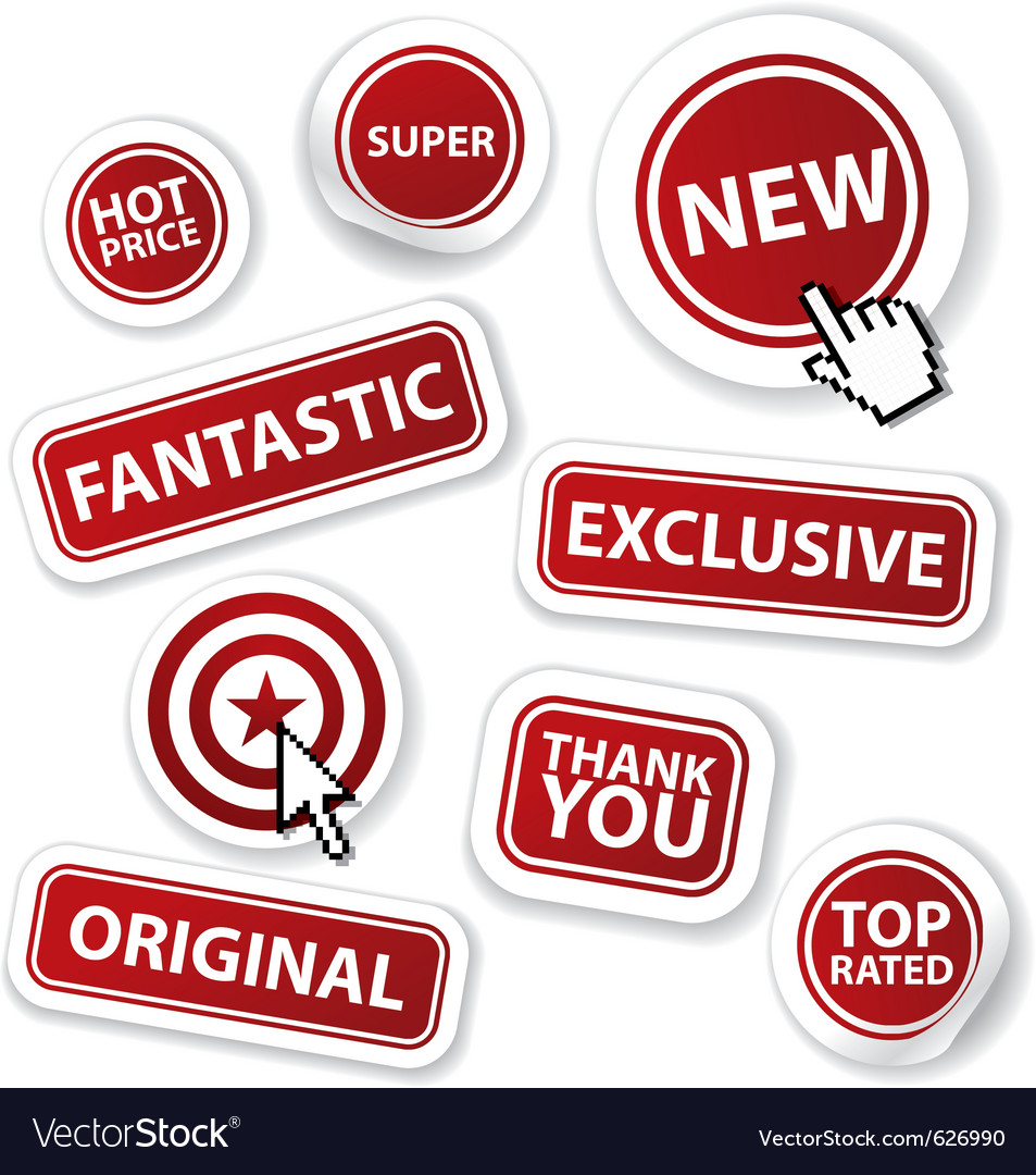 Cool set of red stickers Vector Image