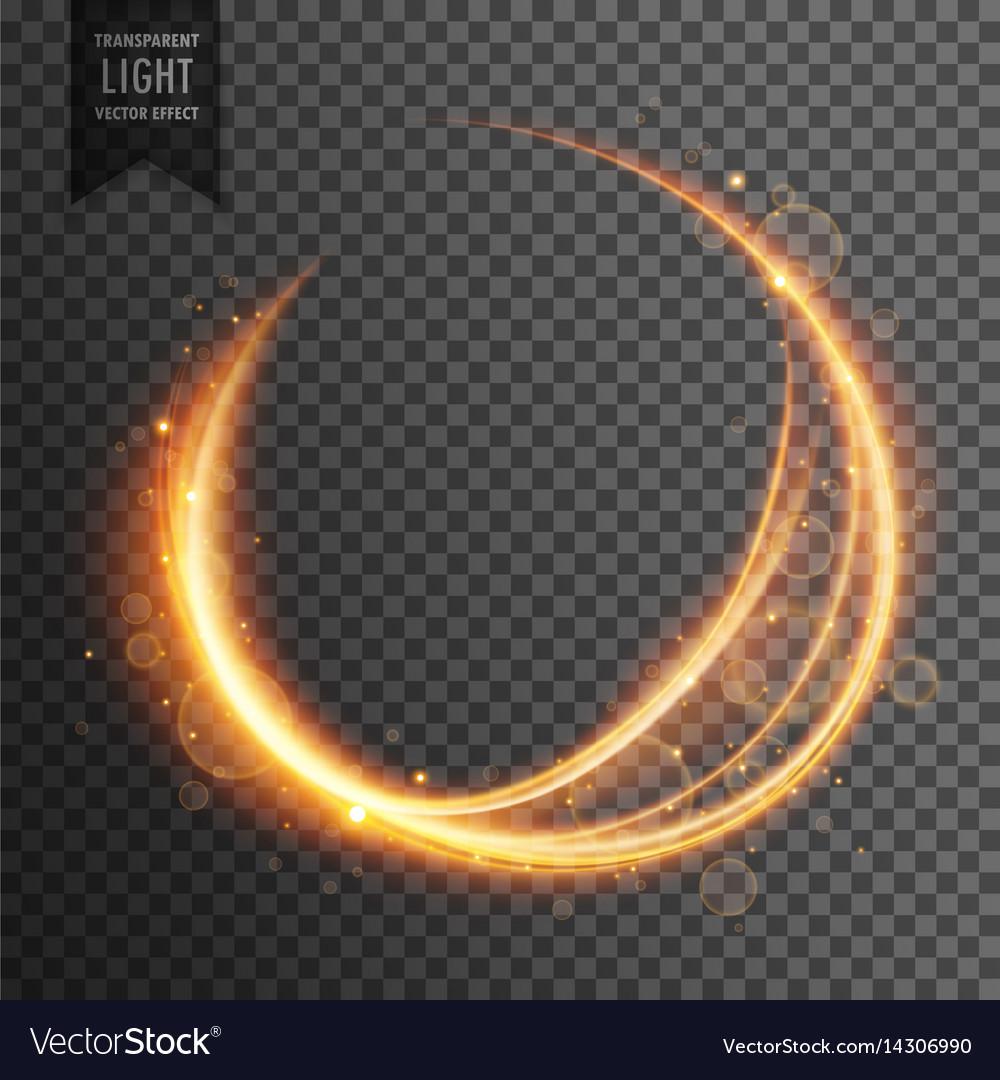 Circular golden lens flare transparent light vector image