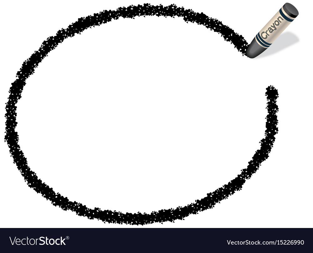Crayon message frame 2 black vector image
