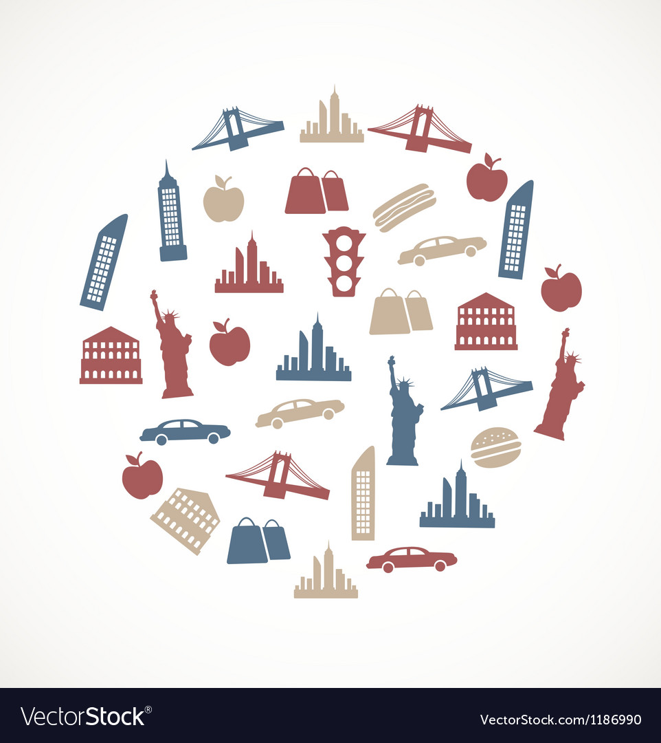 New york symbols royalty free vector image vectorstock new york symbols vector image buycottarizona Image collections