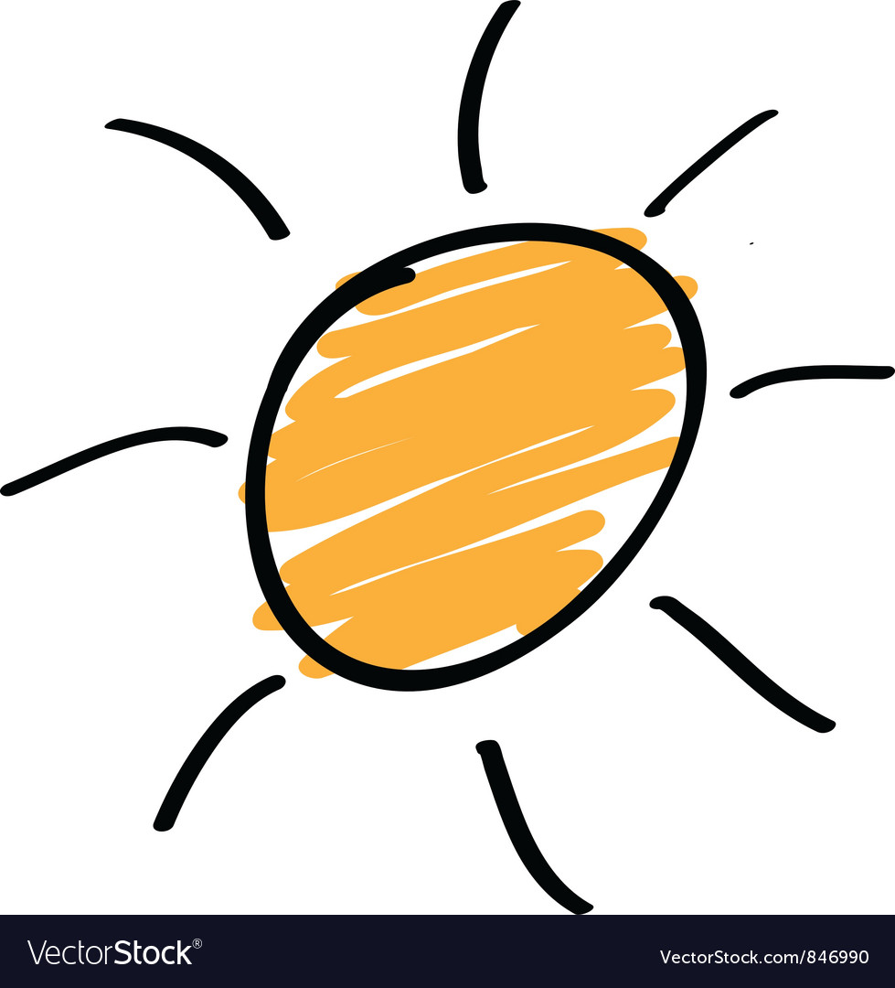 Sun sketch vector image