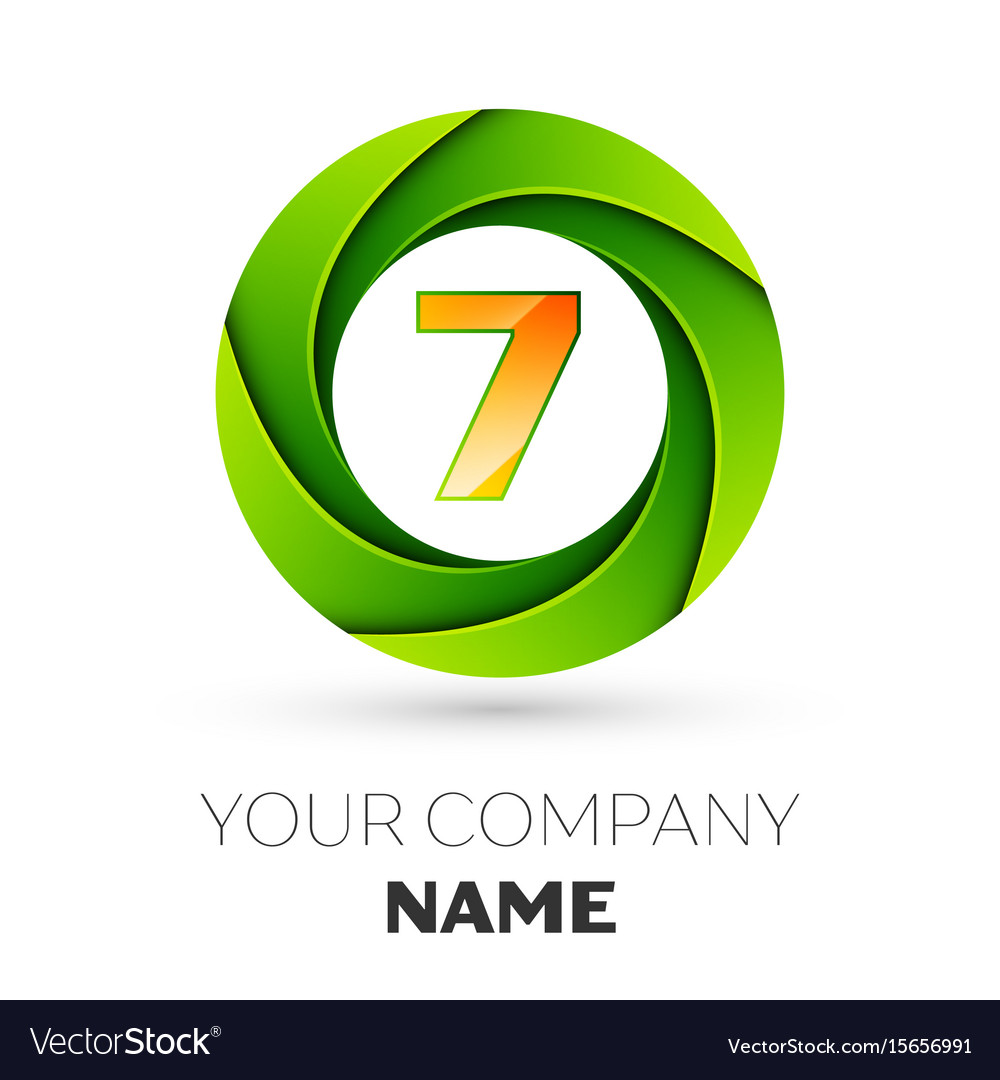 Realistic number seven logo in the colorful circle vector image