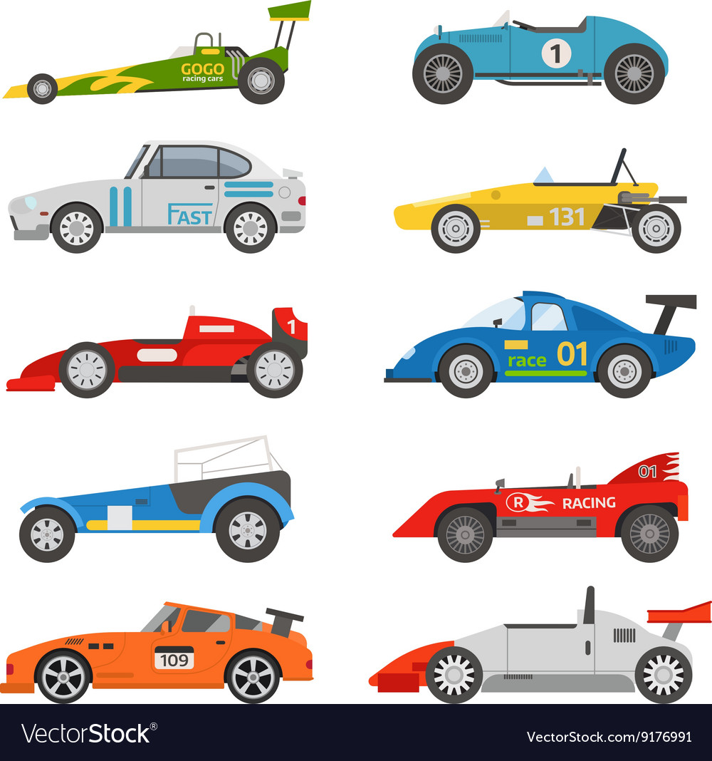 Retro sport car set vector image