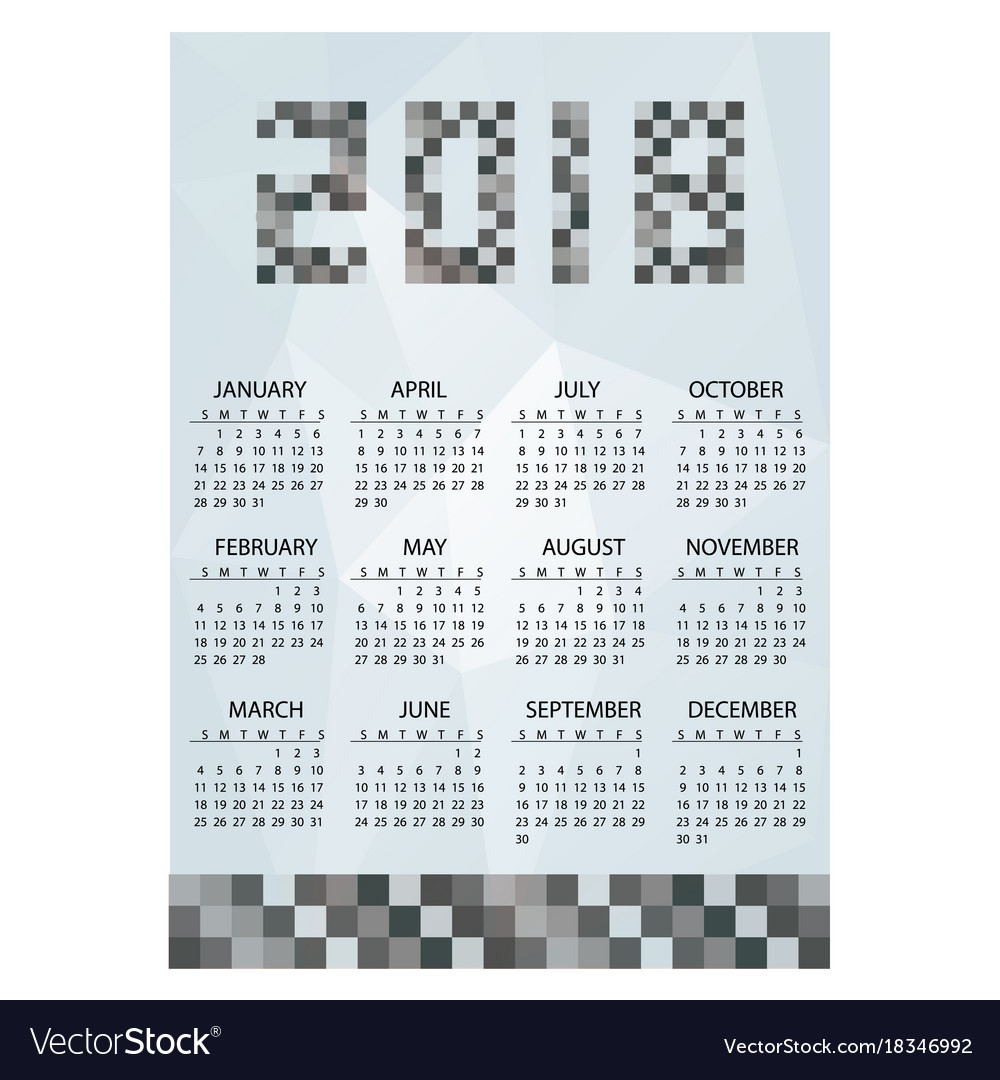 2018 simple business wall calendar grayscale vector image