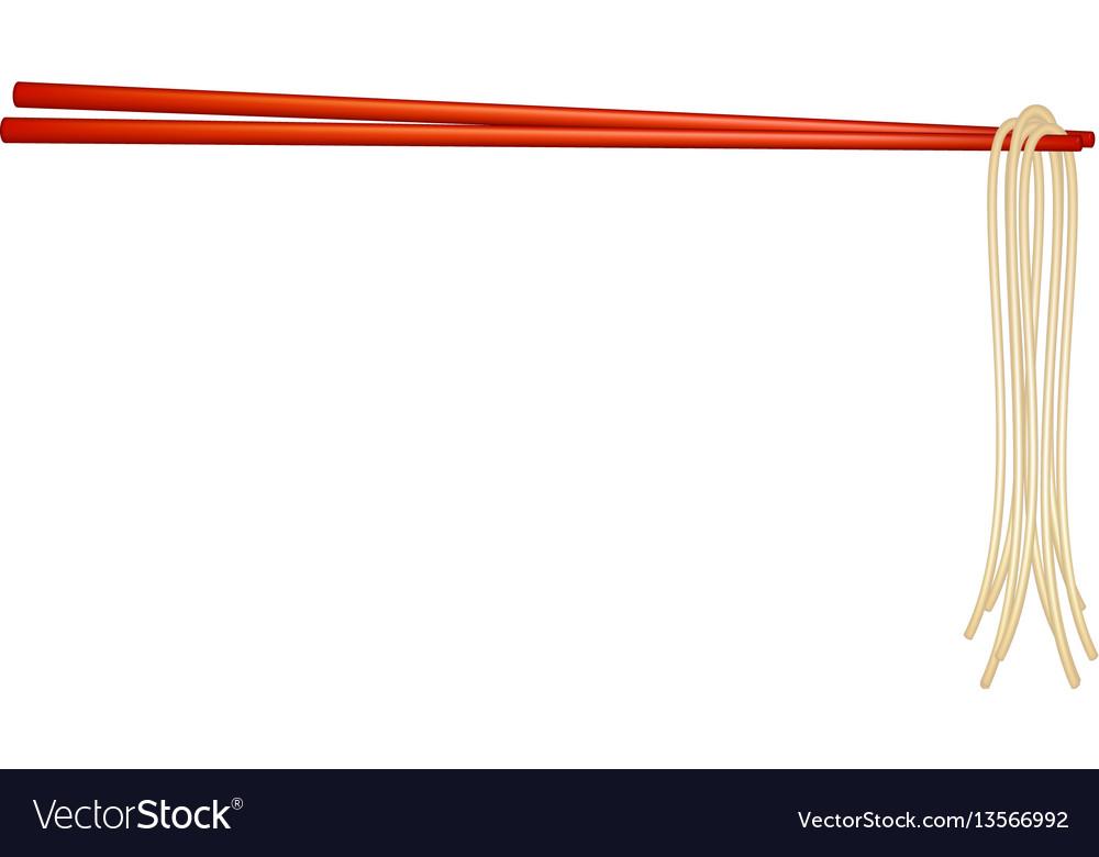 Wooden chopsticks in red design holding noodles vector image
