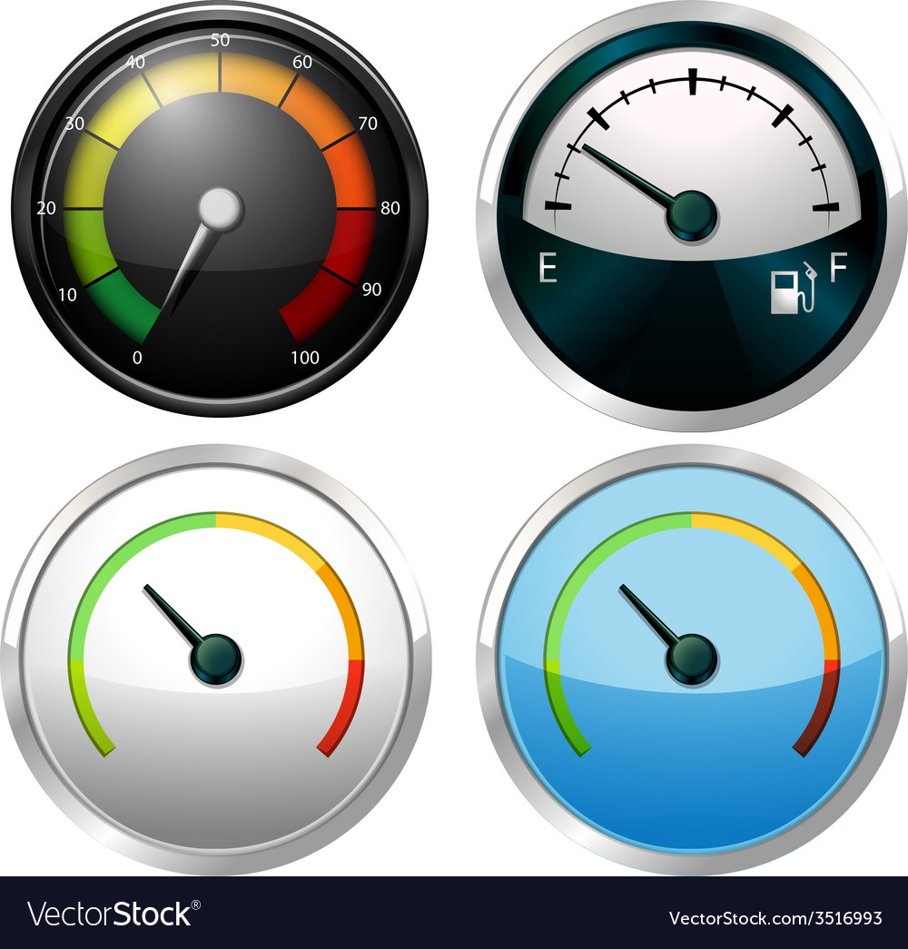 Sets of meter gauges vector image