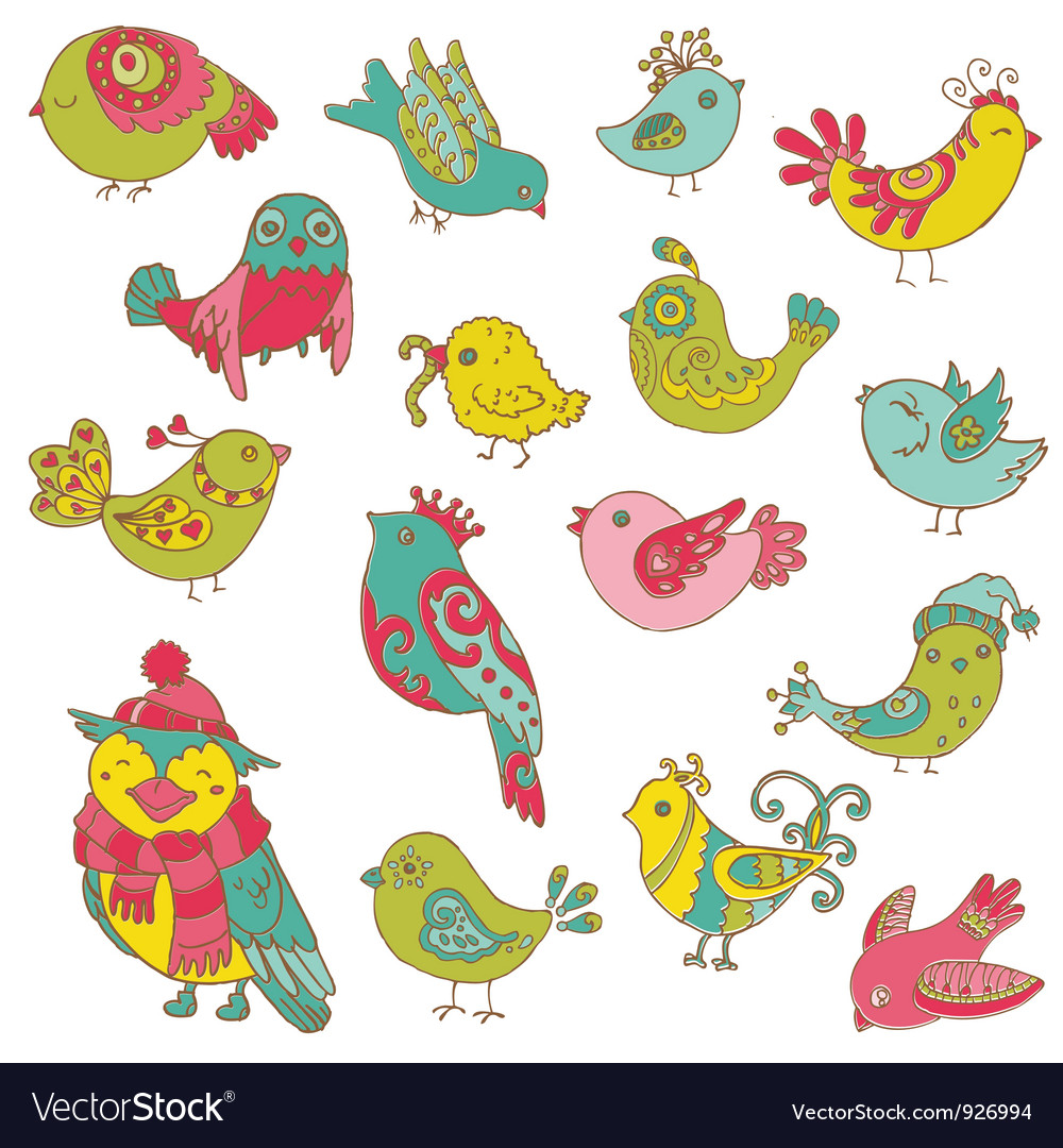 Colorful Birds Doodle Collection vector image