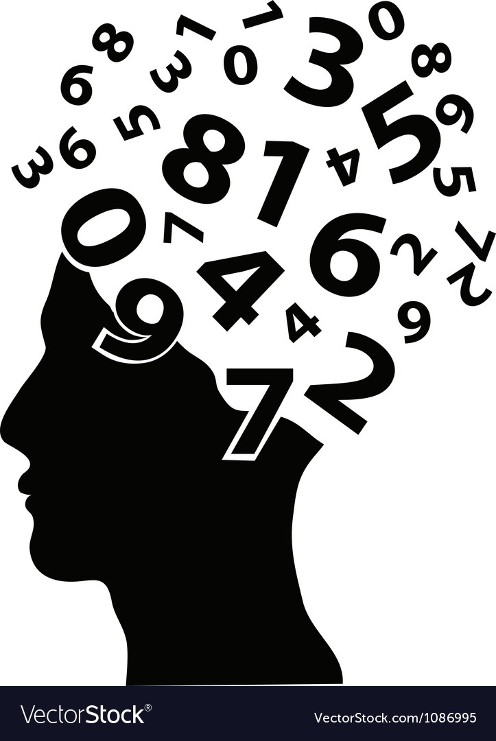 Numbers head vector image