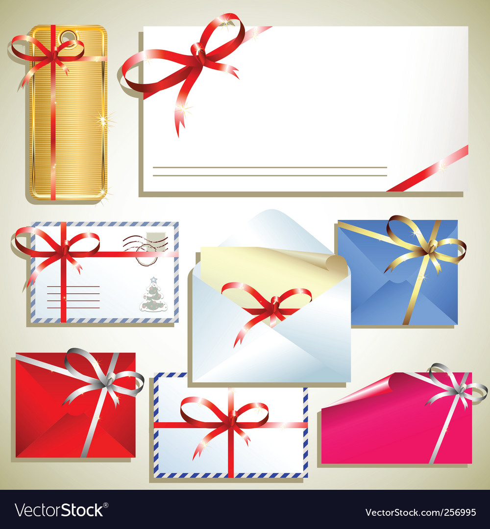 Tags with bow vector image
