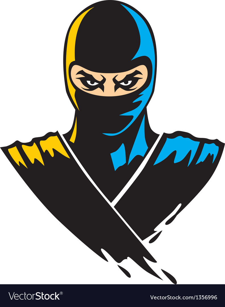 Ninja mascot in paint effect vector image