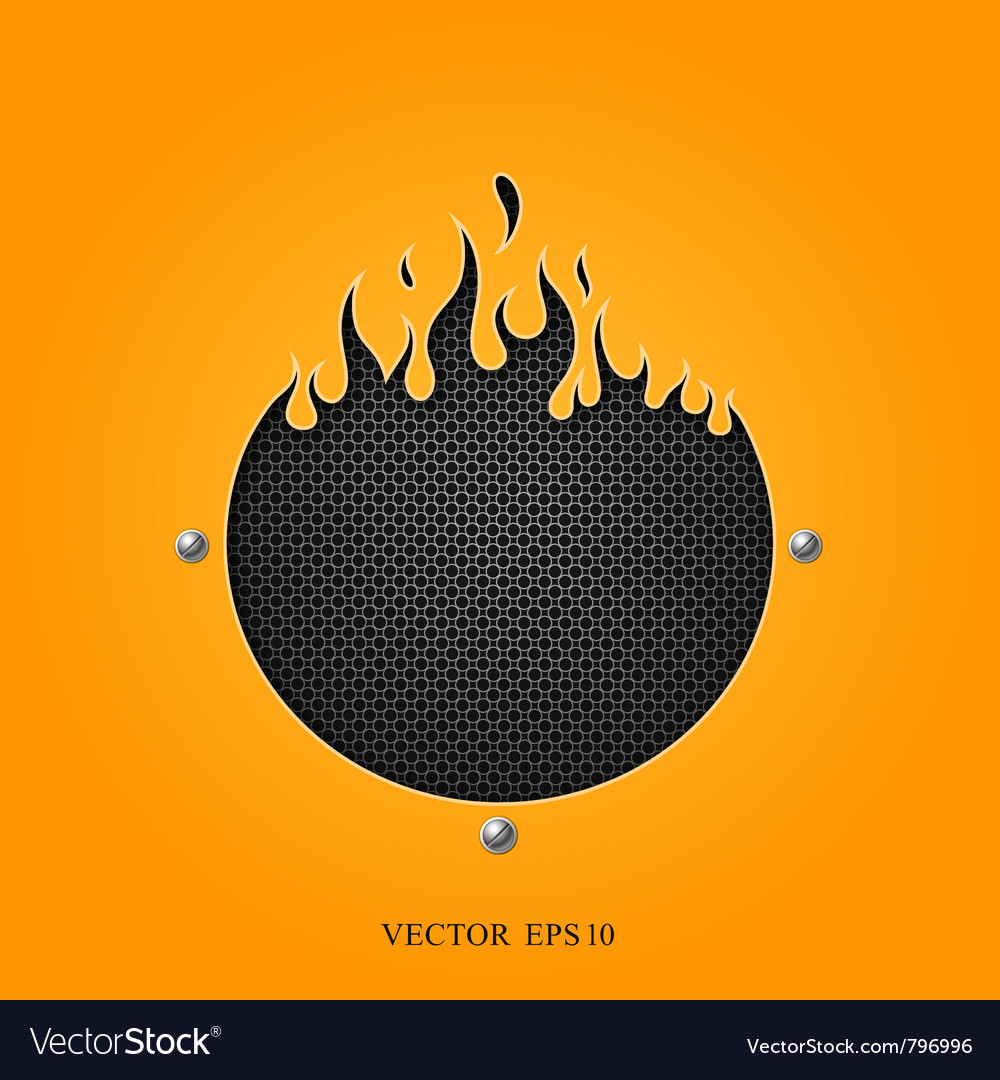 Flame speakers orange background vector image